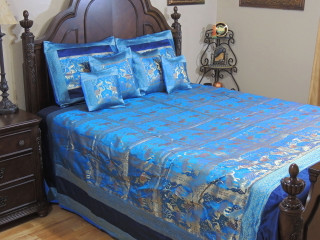 Blue Gold Elephant Pair India Inspired Bedding - Decorative Duvet King Bedspread Set