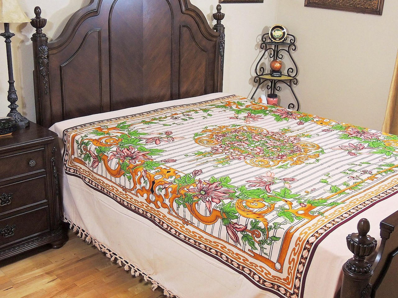 floral print flat sheet cotton india daybed bedding ethnic linens full size. Black Bedroom Furniture Sets. Home Design Ideas
