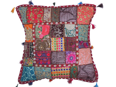 Bohemian Big Floor Seat Pillow Cover - Cowrie Shell Decorated Euro Sham ~ 26 Inch