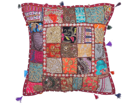 Bohemian Big Floor Seating Cushion Cover - Cowrie Shell Decorated Euro Sham ~ 26 Inch