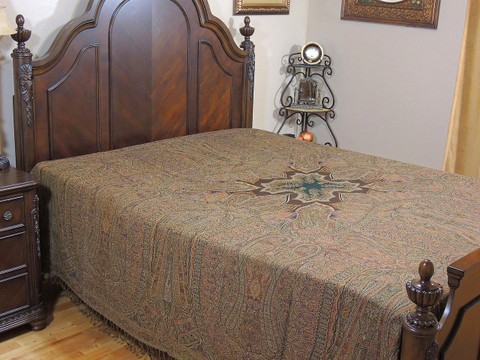 Brown Mahek Kashmir Wool Bedding - Reversible Woven Floral Decorative Bedspread ~ Queen