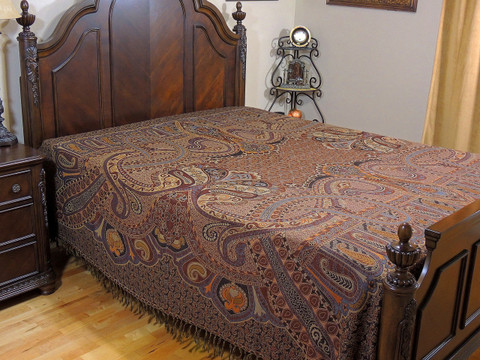 Brown Nilofar Kashmir Wool Bedding - Reversible Woven Floral Decorative Bedspread ~ Queen