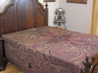 Purple Sartaj Kashmir Wool Bedding - Ethnic Indian Bedspread Blanket ~ Queen