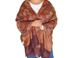Brown Geometric Pattern Wool Shawl Wrap - Warm Jamawar Ladies Dress Scarf 78""