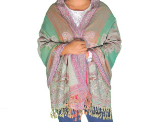 Green Paisley Wool Shawl Wrap - Warm Jamawar Ladies Dress Scarf 78""