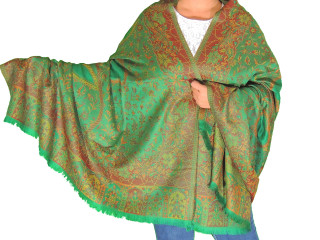 Green Brown Wool Shawl Fashion Wrap - Evening Dress Scarf Afghan 80""