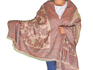 Desert Sand Maroon Wool Shawl Fashion Wrap - Evening Dress Scarf Afghan 80""