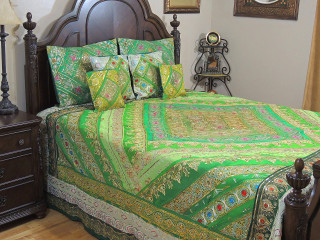 Parakeet Green Indian Bedding - Sari Beaded Duvet with Pillows Cushion Covers ~ King