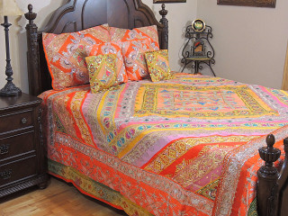 Orange Peach Indian Bedding - Sari Beaded Duvet with Pillows Cushion Covers ~ King