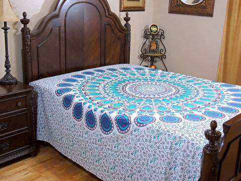 Purple Teal Mandala Floral Bed Sheet - Cotton Indian Bedding Linens ~ Queen