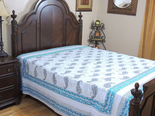 Bondi Blue White Paisley Bed Sheet - Cotton Indian Bedding Linens ~ Queen