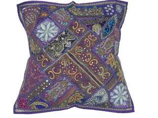 Purple Patchwork Tapestry Floor Pillow Cover - Square Decorative Ethnic Euro Sham ~ 26 Inch