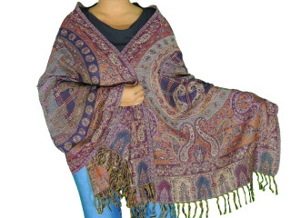 Multicolor Paisley Wool Shawl Wrap - Warm Jamawar Ladies Dress Scarf 78""