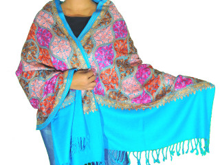 Cerulean Blue Floral Designer Kashmir Shawl - Ladies Embroidered Wool Dress Scarf 78""