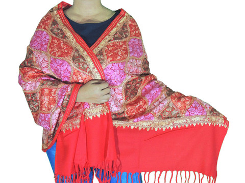 Scarlet Red Floral Designer Kashmir Shawl - Ladies Embroidered Wool Dress Scarf 78""