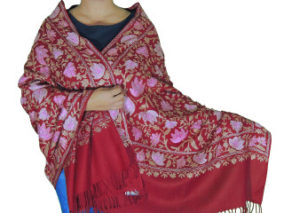 Burgundy Paisley Designer Kashmir Shawl - Ladies Embroidered Wool Dress Scarf 78""