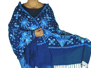 Midnight Blue Floral Designer Kashmir Shawl - Ladies Embroidered Wool Dress Scarf 78""