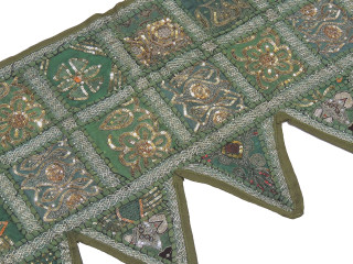 Green Indian Window Treatments Valance - Elegant Beaded Fabric Topper Toran 60""