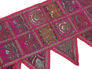 Magenta Indian Window Treatments Valance - Elegant Beaded Fabric Topper Toran 60""
