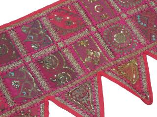 "Magenta Retro Style Window Valance - Beaded Fabric Door Topper Toran 60"""