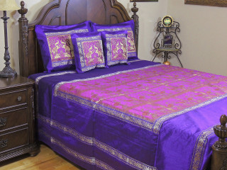 Magenta Purple Elephant Duvet Bedding Set - Indian Style Brocade Ensemble ~ Queen