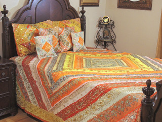 Multicolor Indian Sari Bedding - Beaded Duvet with Pillows Cushion Covers ~ King