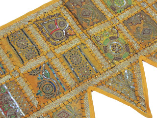 Yellow Indian Window Treatments Valance - Elegant Beaded Fabric Topper Toran 60""
