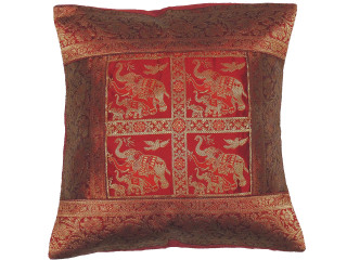 Maroon Elephant Throw Pillow Cover - Sari Brocade Accent Cushion 16""