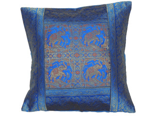 Blue Elephant Throw Pillow Cover - Sari Brocade Accent Couch Cushion 16""