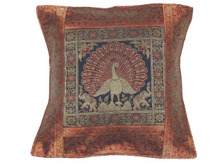 Maroon Black Dancing Peacock Throw Pillow Cover - Sari Brocade Accent Couch Cushion 16""