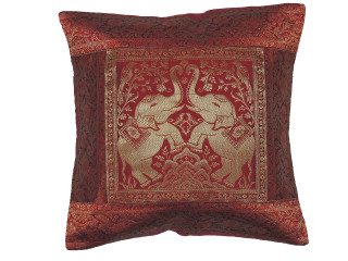 Maroon Dancing Elephant Throw Pillow Cover - Sari Brocade Accent Couch Cushion 16""