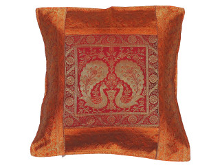Orange Maroon Peacock Throw Pillow Cover - Sari Brocade Accent Couch Cushion 16""
