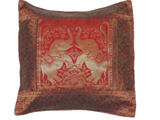 Maroon Elephant Indian Pillow Cover - Sari Brocade Accent Couch Cushion 16""