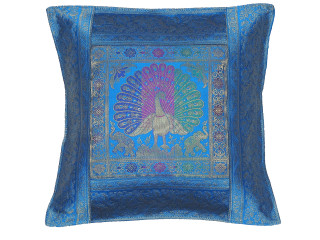 Blue Purple Peacock Indian Pillow Cover - Sari Brocade Accent Couch Cushion 16""