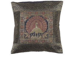 Black Peacock Indian Pillow Cover - Sari Brocade Accent Couch Cushion 16""