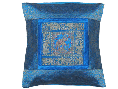 Blue Elephant Indian Pillow Cover - Sari Brocade Accent Couch Cushion 16""