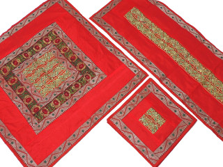Red Pretty Table Linens Set - Indian Embroidered Tablecloth Runner 4 Placemats