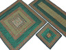 Green Pretty Table Linens Set - Indian Embroidered Tablecloth Runner 4 Placemats