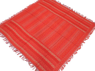"""Red Retro Style Wool Kashmir Tablecloth - Geometric Vintage Ethnic Table Decor Overlay 54"""""""