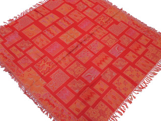 Red Tangerine Wool Woven Tablecloth - Geometric Kashmir Table Square Overlay 54""