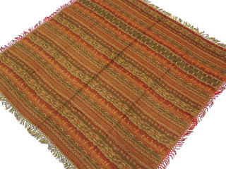 Multicolor Wool Jamawar Woven Tablecloth - Tribal Pattern Fringed Table Overlay 54""
