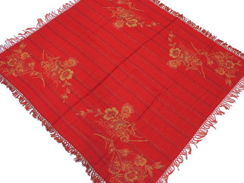 """Mystic Red Wool Jamawar Woven Tablecloth - Floral Fringed Table Overlay 54"""""""