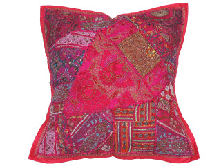 Magenta Patchwork Tapestry Floor Pillow Cover - Square Decorative Ethnic Euro Sham ~ 26 Inch