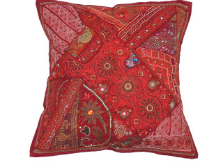 Maroon Designer Tapestry Floor Pillow Cover - Square Decorative Ethnic Euro Sham ~ 26 Inch