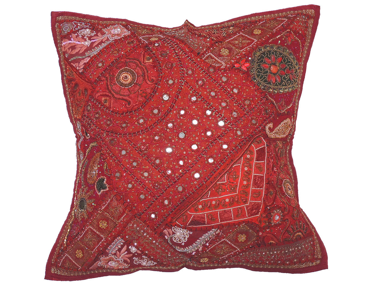 Maroon Patchwork Tapestry Floor Pillow Cover - Square Decorative ...