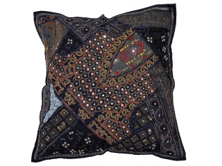 Black Decorative Tapestry Floor Pillow Cover - Square Indian Ethnic Euro Sham ~ 26 Inch