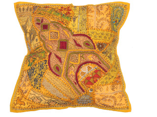 Yellow Sari Beaded Floor Pillow Cover - Decorative Indian Ethnic Euro Sham ~ 26 Inch