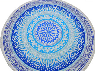 """Blue Floral Pattern Tablecloth - Cotton Block Print Round Fringed Table Topper 70"""""""
