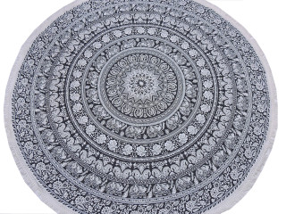 Black Elephant Floral Pattern Tablecloth - Cotton Block Print Round Fringed Table Topper 70""