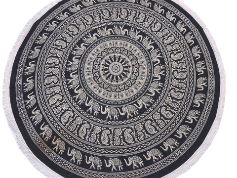 Black Brown Elephant Paisley Tablecloth - Cotton Block Print Round Fringed Table Topper 70""